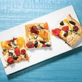 Phyllo Pizza with Smoked Mozzarella and Cherry Tomatoes recipe