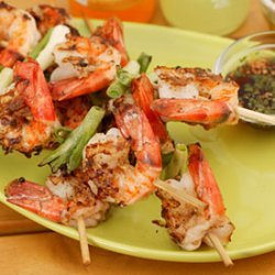 Grilled Shrimp and Scallions with Southeast Asian Dipping Sauces recipe