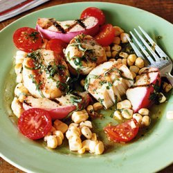 Grilled Scallops and Nectarines with Corn and Tomato Salad recipe