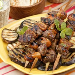 Grilled Lamb and Fig Skewers with Mint-Pepper Glaze and Grilled Eggplant recipe