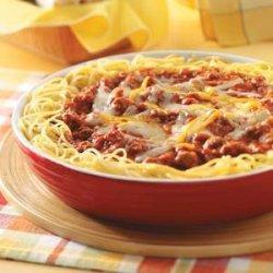 Sausage Spaghetti Pie Skillet recipe