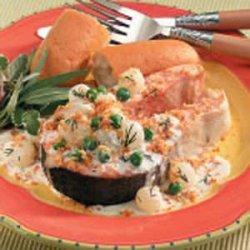 Salmon Steaks With Veggie Cream Sauce recipe