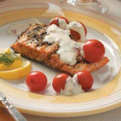 Grilled Salmon with Cheese Sauce recipe