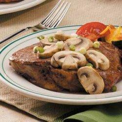 Ribeyes with Mushrooms recipe