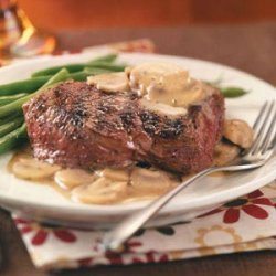 Grilled Steaks with Mushroom Sauce recipe