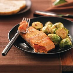 Glazed Salmon with Brussels Sprouts for Two recipe