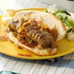 Grilled Beer Brats with Kraut recipe