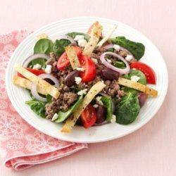 Hearty Pita Spinach Salad recipe
