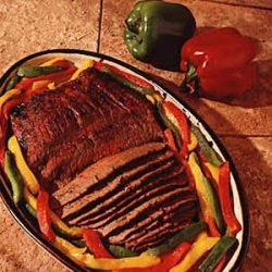 Marinated Flank Steak with Peppers recipe