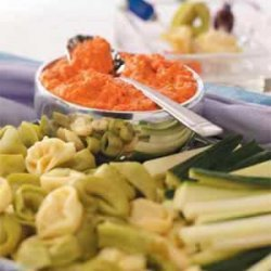 Tortellini with Roasted Red Pepper Dip recipe