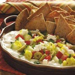 Mediterranean Dip with Pita Chips recipe