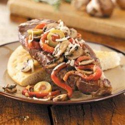 Italian Strip Steaks with Focaccia recipe