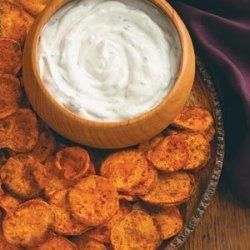 Spicy Sweet Potato Chips & Cilantro Dip recipe