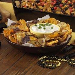 Rainbow Potato Chips with Creamy Onion Dip recipe