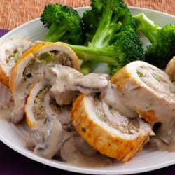 Makeover Stuffed Chicken Breasts with Mushroom Sauce recipe