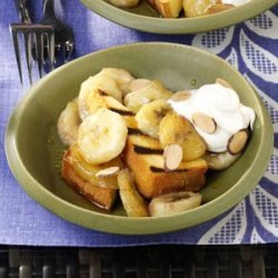 Grilled Pound Cake with Warm Amaretto Bananas recipe