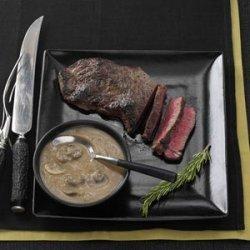 Sirloin Steak with Rich Mushroom Gravy recipe