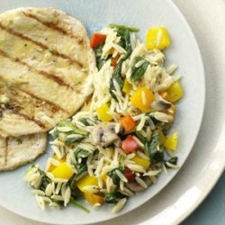 Orzo with Peppers & Spinach recipe