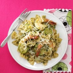 Zucchini Pesto with Shrimp and Farfalle recipe