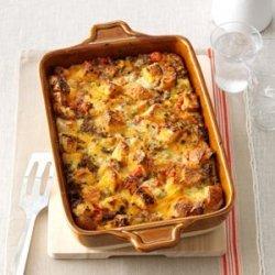 Tomato, Sausage & Cheddar Bread Pudding recipe
