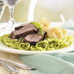 Turf 'n' Surf with Pesto Sauce Pasta recipe