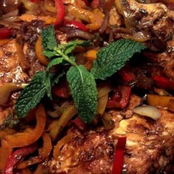 Balsamic Chicken Breasts With Peppers and Onions recipe