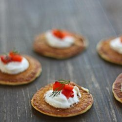 Green Onion Blinis With Red Pepper Relish and Goat Cheese recipe