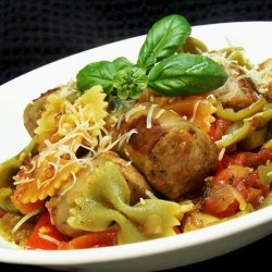 Italian Turkey Sausage and Peppers With Bow Tie Pasta recipe
