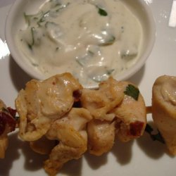 Chipotle Chicken Skewers With Creamy Cilantro Dipping Sauce recipe