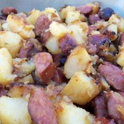 Fried Potatoes With Onion and Kielbasa recipe