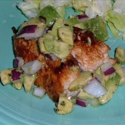 Pan Grilled Chicken with Avocado and Red Onion Salsa recipe