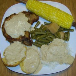 Southern Fried Pork Chops With Creamy Pan Gravy recipe
