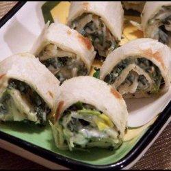 Spinach Dip Pinwheels recipe