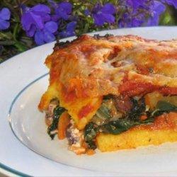 Polenta Lasagna With Feta and Kale recipe