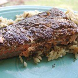 Marinated Salmon Seared in a Pepper Crust recipe