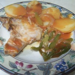 Potatoes, Green Peppers, and Pork Chops recipe