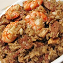 Finallywroteitdown Chicken, Sausage and Shrimp Jambalaya recipe