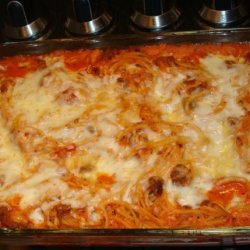 On the Fly Spaghetti Pie - Baked Spaghetti recipe