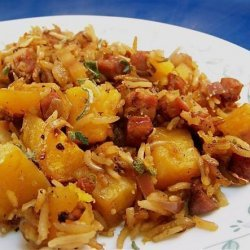 Butternut Squash, Rice and Sausage Casserole recipe