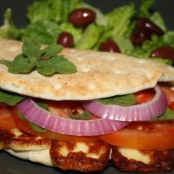The Traditional Cyprus Sandwich With Halloumi, Onions and Tomato recipe