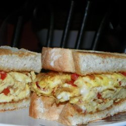Scrambled Egg Sandwiches (With Onions and Red Peppers) recipe