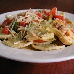 Cheese Ravioli With Fresh Tomato and Artichoke Sauce recipe