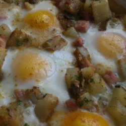Baked Brie, Potatoes, Ham and Eggs recipe