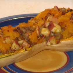Baked Butternut Squash Stuffed With Apples and Sausage recipe