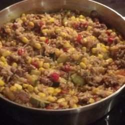 Mexi Ground Beef-Rice Skillet recipe