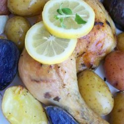 Simple Greek Lemon Chicken Thighs With Potatoes (Low Fat) for 1 recipe