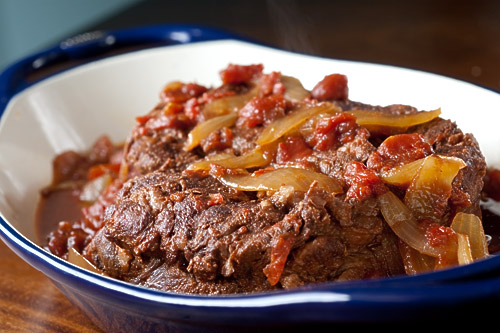 Roast Beef with Slow-cooked Tomatoes and Garlic