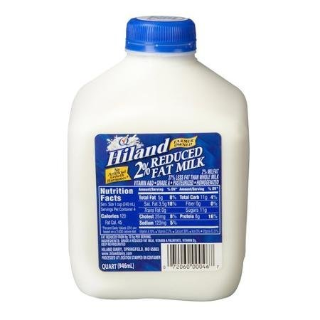 2 reduced fat milk Hiland Nutrition info