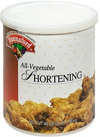 all-vegetable shortening Hannaford Nutrition info