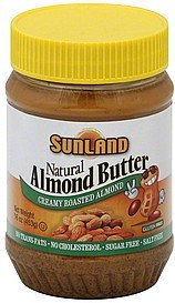 almond butter creamy roasted almond Sunland Nutrition info